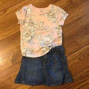 Pink & white floral top with jean skirt bundle
